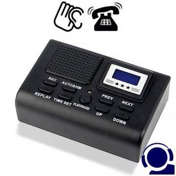 Telefonrecorder als Telefonabhörgerät zum Mitschneiden der Gespräche. Automatische Gesprächsaufzeichnung bei Rufannahme. 8GB Speicherinhalt für bis zu 280 Stunden Aufnahmen. Umschaltbar automatische od. manuelle Aufnahme.