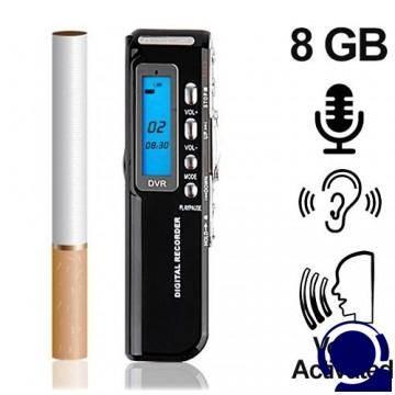 Digitaler Telefon-Recorder (Telefon-Abhörgerät) 8 GB, bis 1200 Stunden. Voice activated, Schaltet bei Telefonaten automatisch ein und bei Beendigung wieder ab. Abmessung im Zigarettenformat.