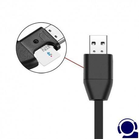 Verdeckter Spionagerecorder im USB-Kabel als Abhörgerät. Erstklassige Aufnahme- /Wiedergabequalität. Lange Aufnahmezeiten: bis zu 384 Std. mit 32 GB Speicher. Keine Batterie notwendig durch USB-Stromversorgung. Als Spionagrecorder nicht erkennbar !