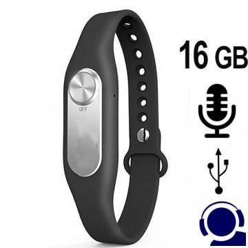 Armband Spionagerecorder für diskrete, heimlich Sprachaufzeichnung als Abhörgerät. Modisch tragbares Armband Design. Einfach und schnell zu bedienen, nur eine Taste. Hohe Aufnahmekapazität bis 280 Stunden.