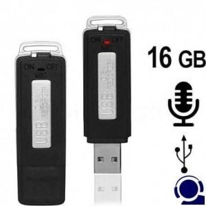 USB-Stick Voice-Recorder für diskrete Aufzeichnung als Abhörgerät. Zeichnet jedes Wort auf und erregt keinerlei Aufsehen. 16 GB Speicherinhalt für bis zu 280 Stunden.