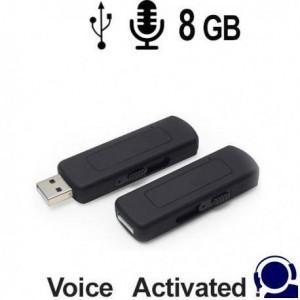 Spionage Voice-Recorder als Abhörgerät getarnt im USB-Stick. Voice-Activated für lückenlose automatische Aufnahmen. Mit USB-Stromversorgung fast unbegrenzte Betriebsdauer. Bei 8GB Speicherinhalt Aufnahmen von bis zu 140 Stunden.