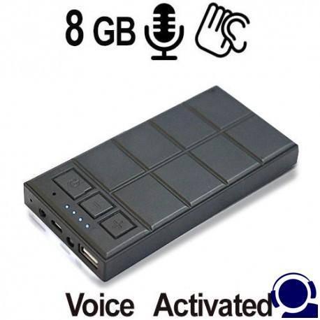 Spionagerecorder als Langzeit Abhörgerät. 5000 mAh Akku für bis zu 580 Stunden Betriebszeit. Bis 350 Stunden kontinuierliche Sprachaufnahme bei 8GB. Voice Activated & regulierbare Timerfunktion.