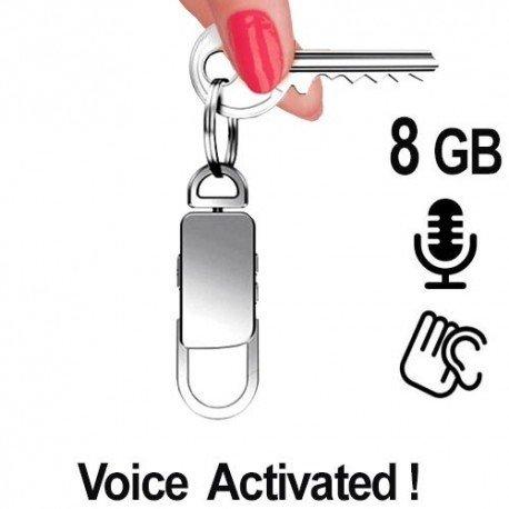 Spionagerecorder getarnt im Schlüsselanhänger als Abhörgerät, Voice-Activated. Da sich das Gerät optisch nicht von einem üblichen Schlüsselanhänger unterscheidet, ist es unwahrscheinlich, dass jemand die wahre Funktion des Gerätes entdeckt. Lange Aufnahmezeiten bis zu 80 Std. mit 8 GB Speicher. Mit Passwordschutz gegen Neugierige.