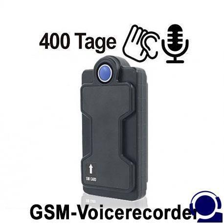 GSM-Fernsteuerbarer Voice-Recorder als Abhörgerät für Langzeit-Audioüberwachung. Voice-Activated und Timer-Funktion für zeitgesteuerte Aufnahmen. Vibrations-Aktivierung und Aufzeichnung bei Bewegungen. Ferngesteuerte Aufnahmen können mit SMS-Befehl gestartet werden.
