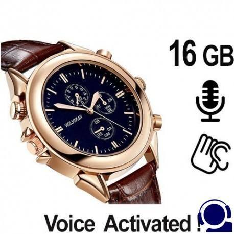 Schicke Armbanduhr mit digitalem Spionagercorder als Abhörgerät. Voice-Activated für lückenlose automat. Sprachaufzeichnung. 80 Stunden Aufnahmekapazität.