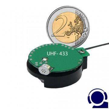 Funkbasiertes Abhörgerät im Knopfzellenformat für hohe Übertragungsreichweite bis 1000 Meter.
