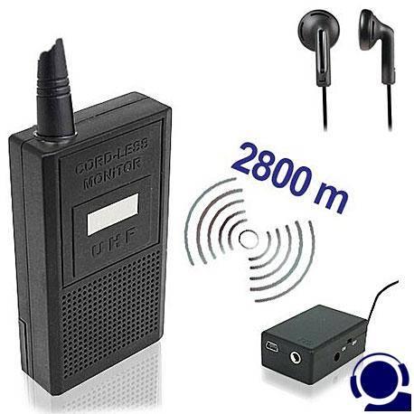 Drahtloses Abhörgeräte Set (Sender & Empfänger) mit Reichweiten bis 2800 mtr. für hochwertige, glasklare drahtlose Audioüberwachung.